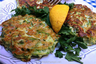 Crispy Golden Cheezy Zucchini Fritters • Click here to get the recipe